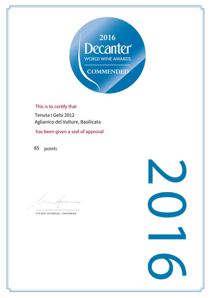 2016 Decanter World Wine Award - Commended